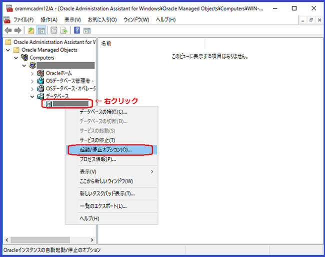 Oracle(Administration Assistant for Windows画面)